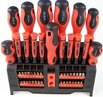 50pc Magnetic CRV SCREWDRIVER / BIT Set with RACK Slotted Phillips Pozi Square