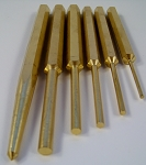 6pc SOLID BRASS PUNCH SET Center and PIN Non Sparking 5-3/4 Long 58 Brass chisel