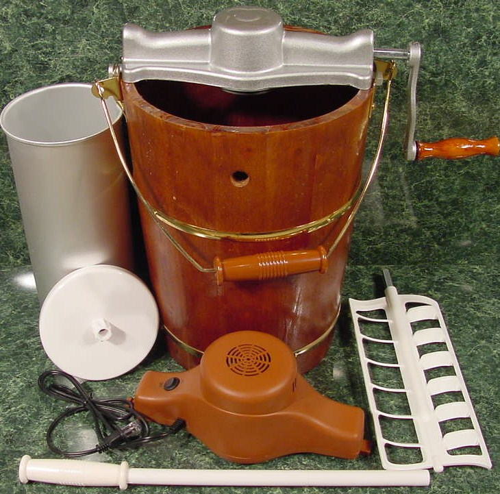 Old Fashioned ICE CREAM MAKER Combo Electric or Hand Operated Wood Bucket