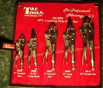 5pc T & E LOCKING PLIERS SET LONG NOSE and CURVED JAW with POUCH Lock Plier #900
