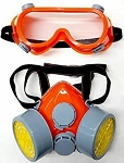 DUAL CARTRIDGE RESPIRATOR DUST MASK with Eye GOGGLES adjustable one size fit all