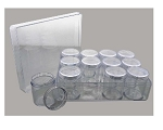 Clear Polystyrene plastic BOX with Lid and 12 STORAGE JARS with Screw On Lids