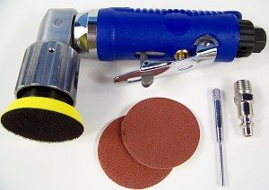 2' Mini Orbital 90 Degree ANGLE AIR SANDER TOOL Hook and Loop with Discs and Pad