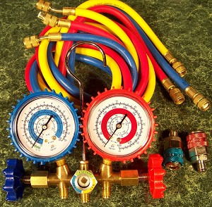 AC MANIFOLD GAUGE SET for R134a with 2 ADAPTERS HOSES Freon Air Conditioner USA