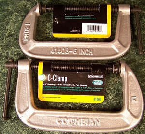 2pc COLUMBIAN 6 inch C – CLAMP Made in USA Heavy Duty Iron Frame swivel wilton