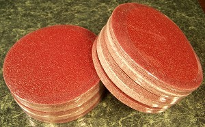 "50pc 600 Grit 6"" HOOK and LOOP SANDING DISCS A/O Red No Hole sand paper disk USA"