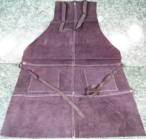 Black LEATHER WORK SHOP APRON with POCKETS