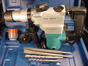 "1"" SDS ROTARY HAMMER DRILL KIT 3in1 with CASE BITS & CHISELS"