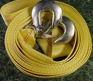 "2"" X 20 Foot TOW STRAP with HOOKS"