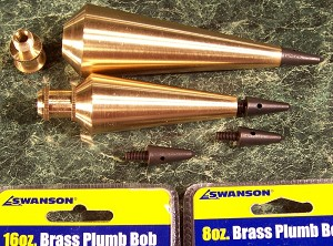 2 Professional SOLID BRASS PLUMB BOBS 16 oz and 8 oz