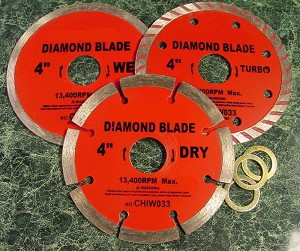"3pc. 4"" Wet / Dry DIAMOND CUT SAW BLADE"