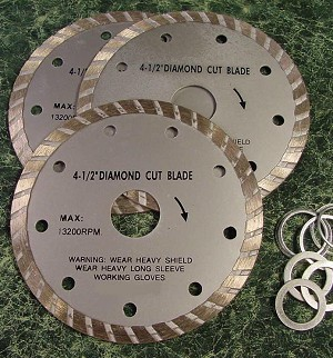 "3pc. 4-1/2"" Wet / Dry DIAMOND CUT SAW BLADE"