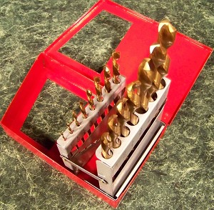 15pc LEFT HAND HSS TITANIUM DRILL BIT SET with case